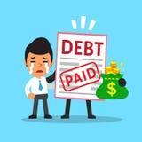 Cartoon a businessman paid his debt Stock Photo