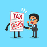 Cartoon a businessman paid tax. For design Stock Photography