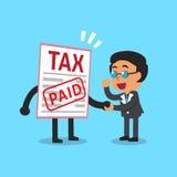 Cartoon a businessman paid tax Stock Photography