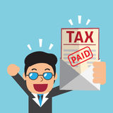 Cartoon businessman paid tax. For design Royalty Free Stock Photos