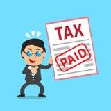 Cartoon a businessman paid tax Royalty Free Stock Photos