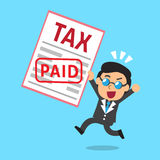 Cartoon businessman paid tax Royalty Free Stock Images
