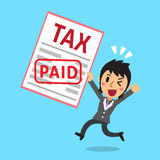 Cartoon businessman paid tax. For design Stock Image