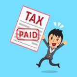 Cartoon businessman paid tax Stock Image