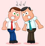 Cartoon Businessman Pair. Angry and fighting. Royalty Free Stock Images