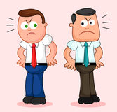 Cartoon Businessman Pair. Angry and turned away from each other. Stock Photo