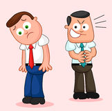 Cartoon Businessman Pair. One looking unhappy and the other snea Stock Photos