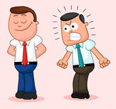 Cartoon Businessman Pair. One of them happy and the other furiou Royalty Free Stock Image