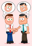 Cartoon Businessman Pair. Shaking hands with both of them thinki Royalty Free Stock Images