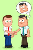 Cartoon Businessman Pair. Shaking hands with one of them thinkin Stock Image