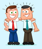 Cartoon Businessman Pair. Their arms around each other's shoulde Stock Image