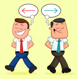 Cartoon Businessman Pair. Walking apart with different ideas. Royalty Free Stock Image