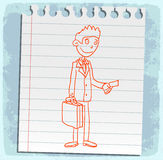 Cartoon Businessman on paper note, vector illustration Stock Photography