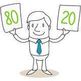 Cartoon businessman pareto 80 20 Stock Photos