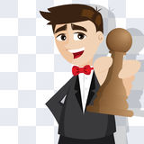 Cartoon businessman with piece of chess Stock Images