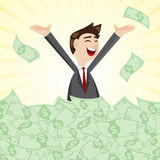 Cartoon businessman on pile of money cash Stock Image