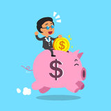 Cartoon businessman and pink piggy Royalty Free Stock Photography