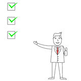 Cartoon businessman pointing and explaining with check boxes Royalty Free Stock Photos