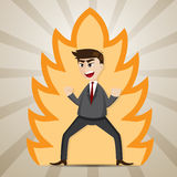 Cartoon businessman with power strength. Illustration of cartoon businessman with power strength in work energy concept Stock Images