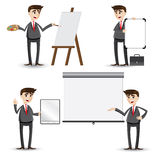 Cartoon businessman presentation set Royalty Free Stock Images