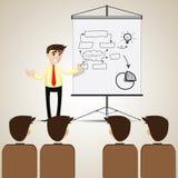 Cartoon businessman presentation to audience Stock Photo