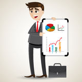 Cartoon businessman presentation with white board Royalty Free Stock Images
