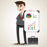 Cartoon businessman presentation with white board. Illustration of cartoon businessman presentation with white board vector illustration