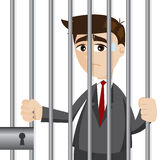 Cartoon businessman in prison Stock Photography