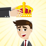 Cartoon businessman promoting with crown Royalty Free Stock Photo