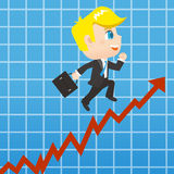 Cartoon Businessman promots sales growth Royalty Free Stock Images