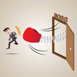 Cartoon businessman punch out of boss room. Illustration of cartoon businessman punch out of boss room in lay off concept Stock Image
