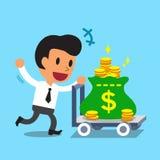 Cartoon businessman pushing money trolley Royalty Free Stock Photography