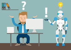 Cartoon Businessman Question Office Robot Answer Royalty Free Stock Image