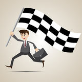 Cartoon businessman with racing flag Royalty Free Stock Photos