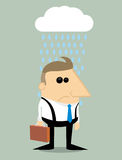 Cartoon businessman in rain under a cloud Royalty Free Stock Photography
