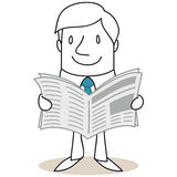 Cartoon businessman reading newspaper Royalty Free Stock Images