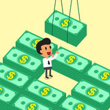 Cartoon businessman receiving money stacks Stock Image