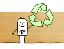 Cartoon businessman with recycling sign. Illustration Royalty Free Stock Photography