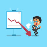 Cartoon businessman with red arrow chart. For design Stock Photography