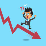 Cartoon a businessman with red arrow. For design Stock Photo