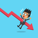 Cartoon businessman with red arrow. For design Stock Images