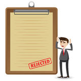 Cartoon businessman with rejected document Royalty Free Stock Photos