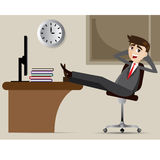 Cartoon businessman relax on chair Royalty Free Stock Images