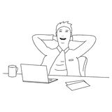 Cartoon businessman relaxing on the desk after finishing work Stock Photo