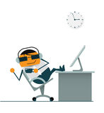 Cartoon businessman relaxing. drinking hot coffee. listening music from headphone at coffee time. Illustration vector of cartoon businessman relaxing on swivel Royalty Free Stock Image