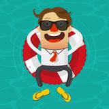 Cartoon businessman relaxing in an inner tube on the tropical sea. Royalty Free Stock Images