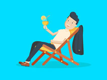 Cartoon Businessman Relaxing on Vacation with Tropical Cocktail. Summer Holidays. Royalty Free Stock Photography