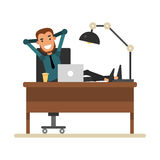 Cartoon businessman resting in a workplace. Cheerful man sitting Stock Image