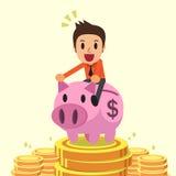 Cartoon businessman riding pink piggy bank with money background Stock Photo