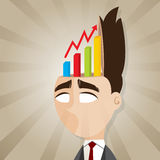 Cartoon businessman with rising chart from his head Royalty Free Stock Photography